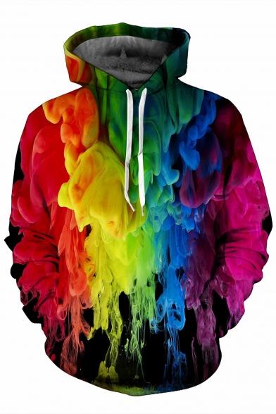 Cool Colorful Painting Print Long Sleeve Hoodie - takeluckhome.c