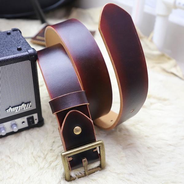 Cool Handmade Red Brown Leather Mens Belt Leather Belt for Men .