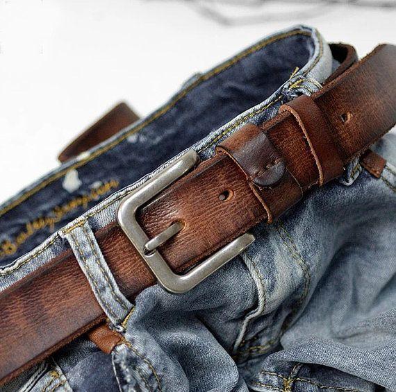 Unisex Belt, Vintage Genuine Leather Belt, Men's Belt,Handmade .