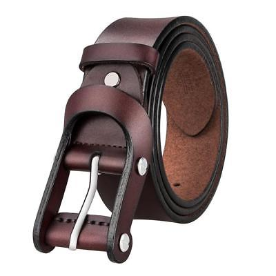 USA COOL Brown Pin Buckle Men's Belt Genuine Leather Needle Knot .
