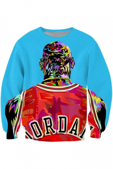 3D Cool Figure Painted Crewneck Long Sleeve Pullover Blue .