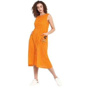Orange checkered cotton dresses - BKind - 28649