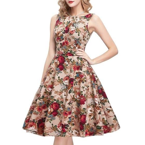 Shop Summer Vintage Floral Print Cotton Dresses European Style .