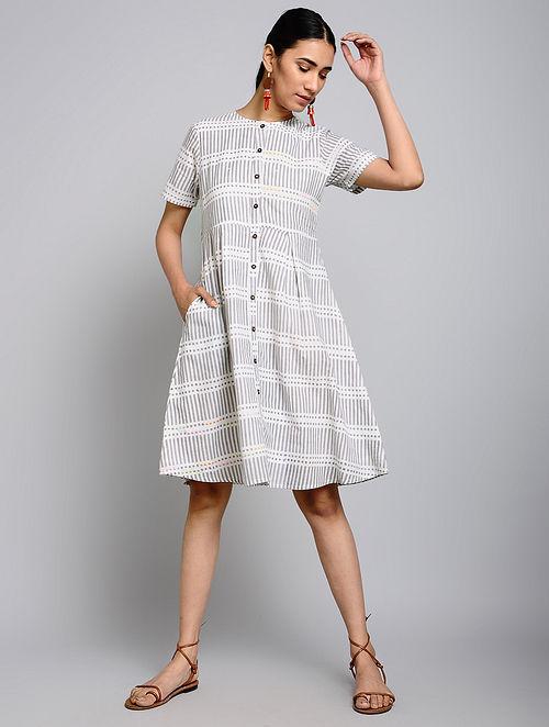 Buy Kiara Grey Block Printed Cotton Dress Online At Jaypore Com .