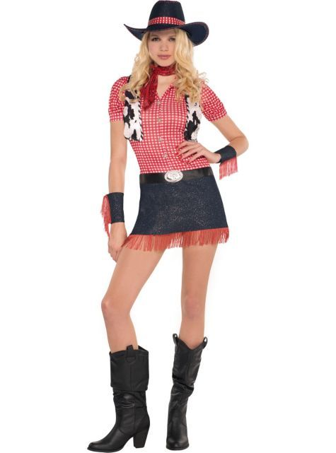 Adult Rawhide Cowgirl Costume - Party City | Cowgirl costume .