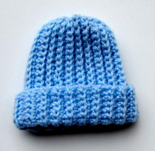 Ribbed Crochet Baby Beanie   AllFreeCrochet.c
