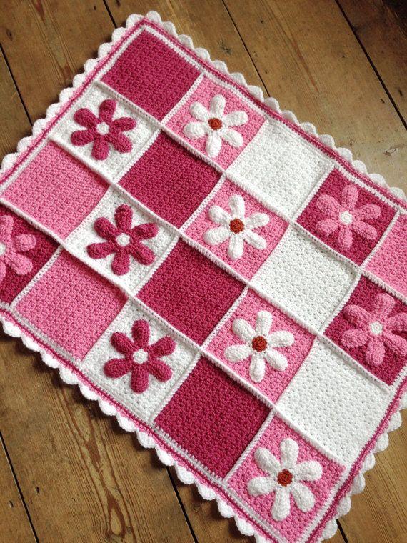 Crochet pram blanket with appliqué daisies, car seat blanket, crib .