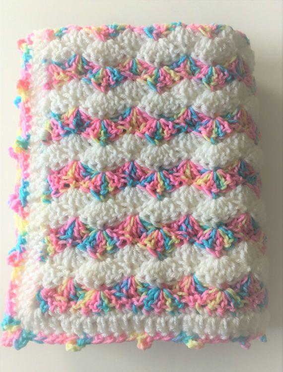 Rainbow Baby Blanket, Crochet Baby Blanket, Pastels Baby Blanket .