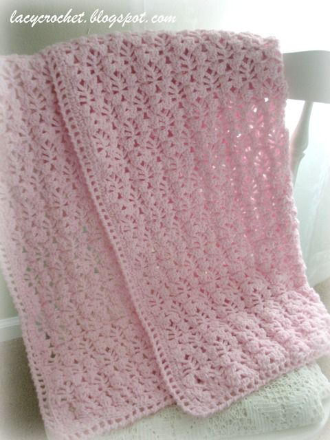 Lacy Crochet: Pretty Lacy Stitch for a Baby Blanket. Free pattern .