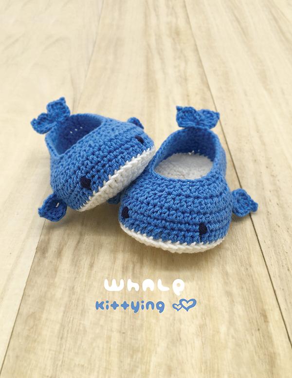 Whale Baby Booties Crochet Pattern · Kittying Crochet Patte