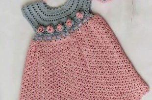 See that beautiful dress for girls. pink. crochet yarn. | Crochet .