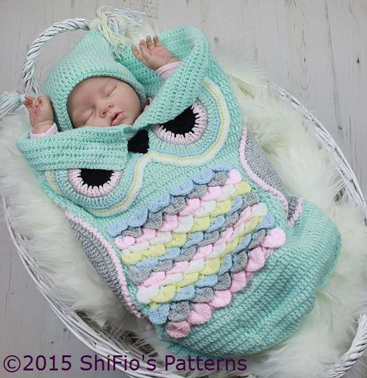 CP245 Owl Baby Cocoon, Papoose & Hat in 3 Sizes Crochet Pattern # 2