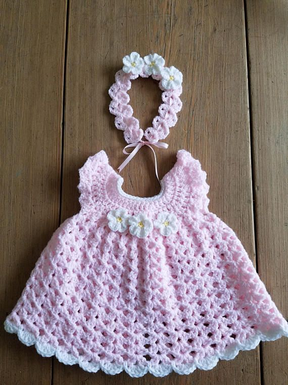 2 piece Crochet Newborn Baby Girl Dress Pink White Daisy Flower .