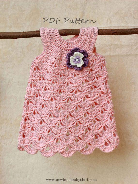 Crochet Baby Dress Crochet pattern, Baptism baby girl dress .
