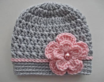 Baby girl hat Crochet baby hat Girl hospital hat Gray baby | Et