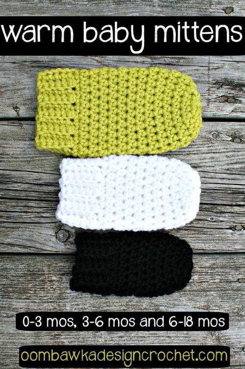 Warm and Cozy Crochet Baby Mittens | AllFreeCrochet.c