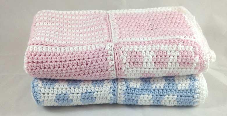 Spot and Stripe Crochet Baby Blanket Pattern - Ruby & Custa