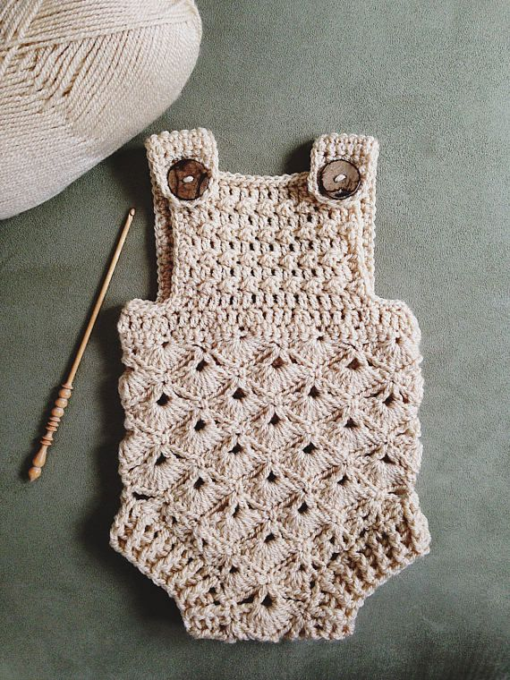Crochet PATTERN - Baby Romper (sizes 0-3 and 6-12 months .