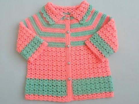 How to crochet easy baby sweater cardigan Tutorial - YouTu
