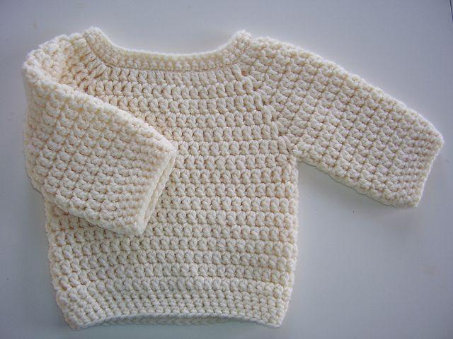 DIY Basic Crochet Baby Sweater - FREE Pattern / Tutorial .