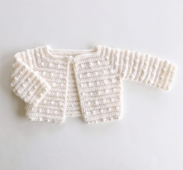 Scattered Dot Crochet Baby Sweater | Daisy Farm Craf