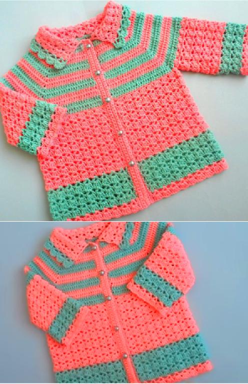 Crochet Easy Baby Sweater Cardigan - Crochet Ide