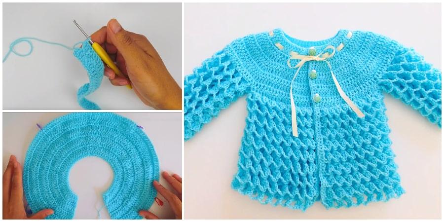 Crochet Baby Sweater - Learn to Crochet - Crochet Kingd