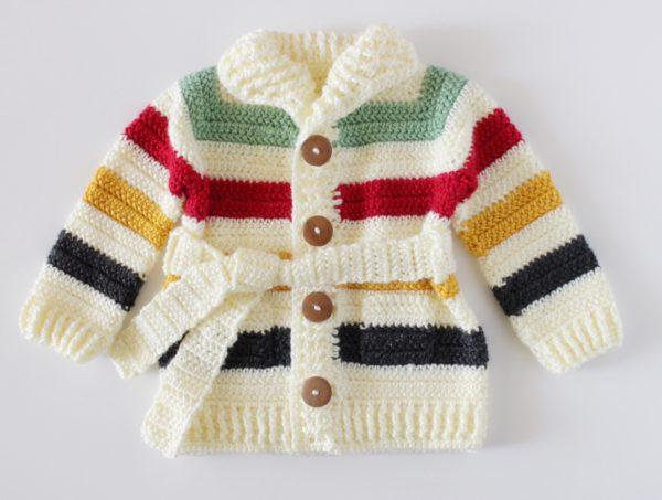 Crochet Vintage Stripes Baby Sweater | Daisy Farm Craf