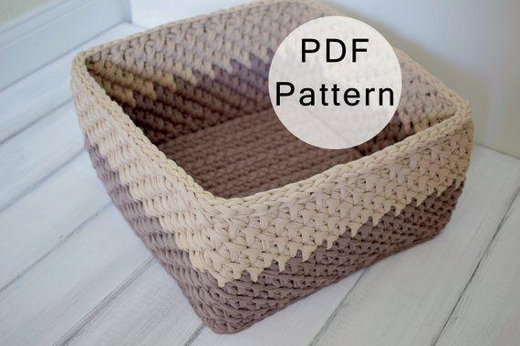 CROCHET PATTERN - Crochet Basket Pattern, Square Basket from T .