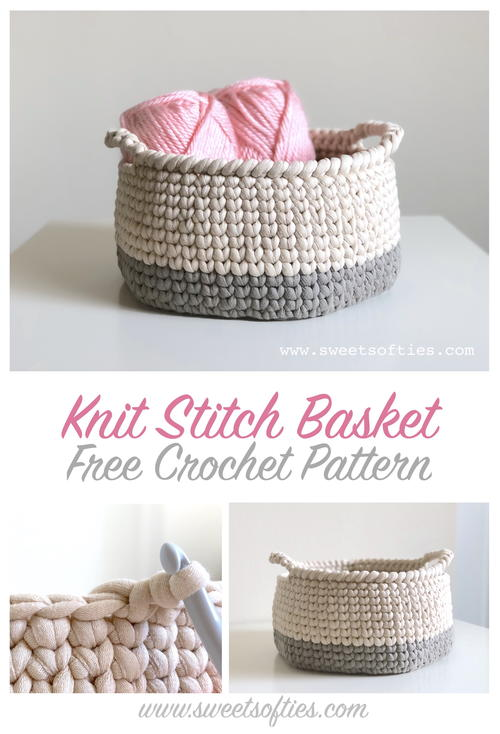 Two-Toned Knit Stitch Crochet Basket with Handles | AllFreeCrochet.c