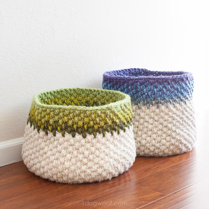 Color Block Crochet Basket Pattern - One Dog Wo