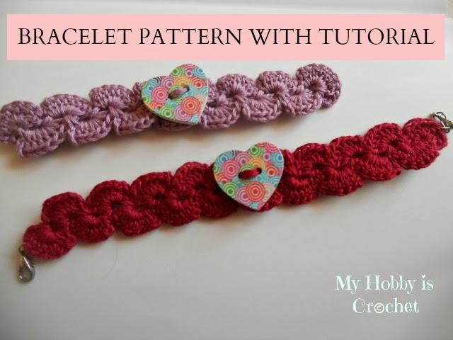 My Hobby Is Crochet: Crochet Bracelet with Heart Button - Free .