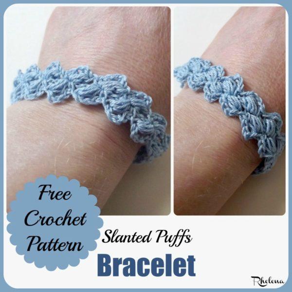 Slanted Puffs Bracelet - CrochetNCraf