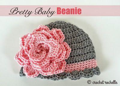 Pretty Baby Beanie | Crochet hat pattern, Crochet baby beanie .