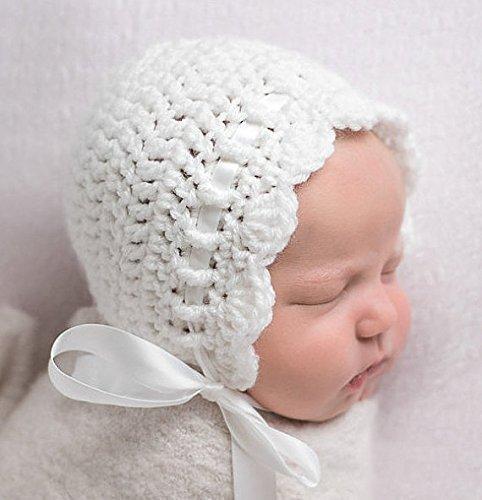 Amazon.com: Newborn Baby Bonnet, White Newborn Girl Crochet Hat .