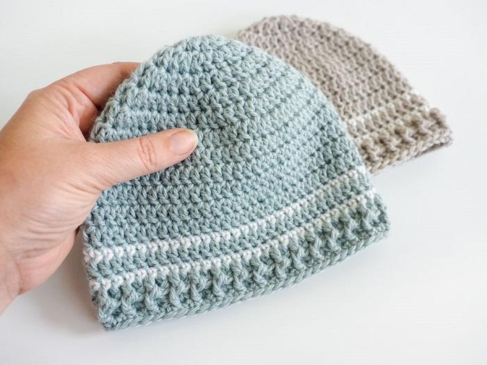 Easy Striped Crochet Baby Hat Pattern - Dabbles & Babbl