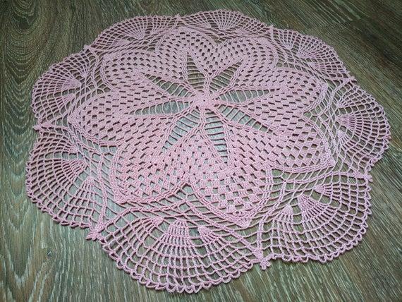 Crochet doily Round doilies Large doily Pink doily | Et