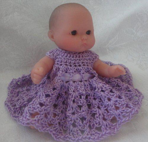 Free Doll Dress Crochet Pattern for Berenguer 5 Inch Doll Baby .
