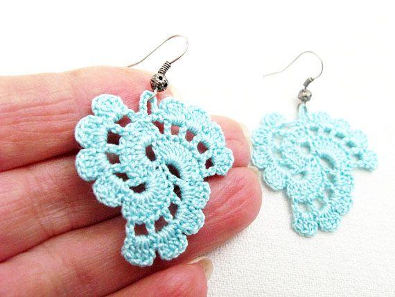 Crochet Earrings Pattern, PDF Tutorial Crochet, Wedding Earrings .