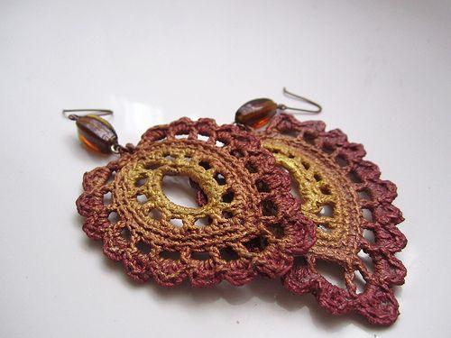 Crocheted earrings | Crochet earrings pattern, Crochet earrings .