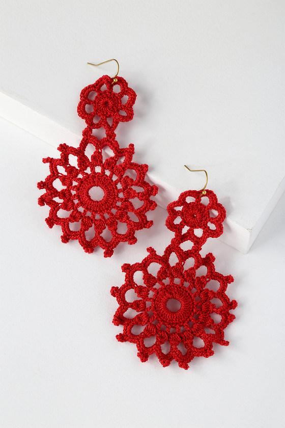 Boho Red Earrings - Crocheted Earrings - Statement Earrin