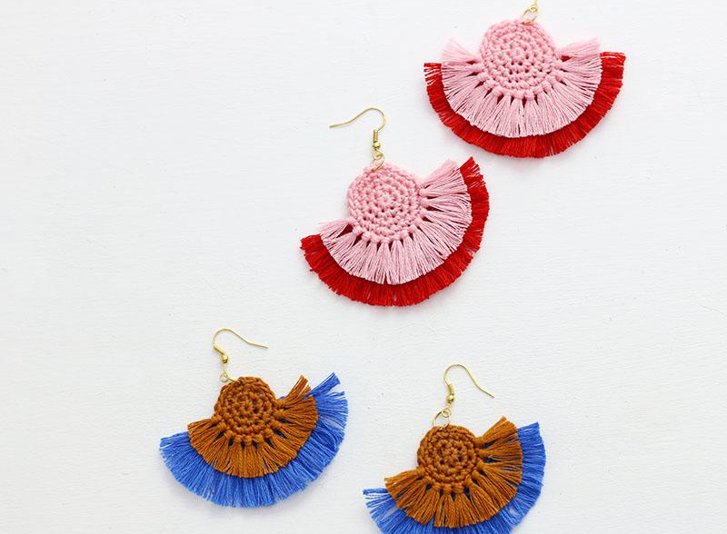 DIY Fringe Statement Earrings - Crochet Earrings Pattern - Persia L