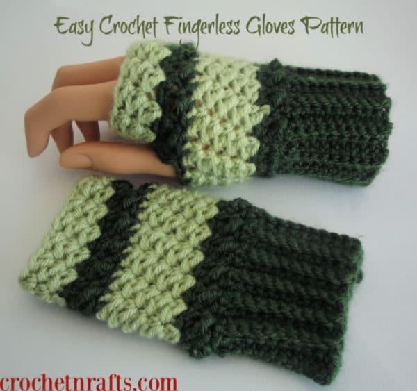 Easy Crochet Fingerless Gloves Pattern - CrochetNCraf