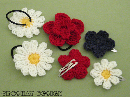 crocheted hair accessories | Hair clips and ponytail holders… | Flic