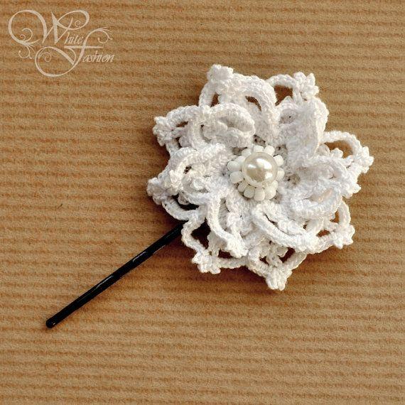 BRIDAL HAIR PIN wedding hair accessories white by WhiteFashion .