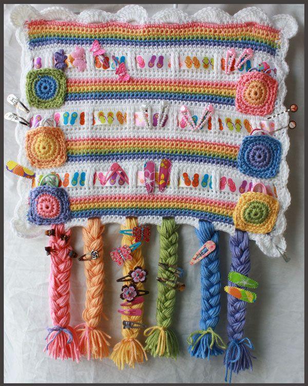 Crochet Hair accessory organizer | Crochet hair accessories .