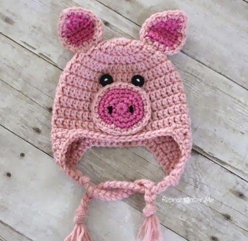 40+ Crochet Animal Hat with Patterns | Crochet pig, Crochet animal .