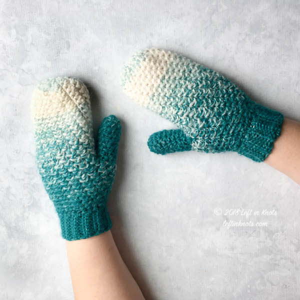 Snowball Mittens Free Crochet Pattern — Left in Kno