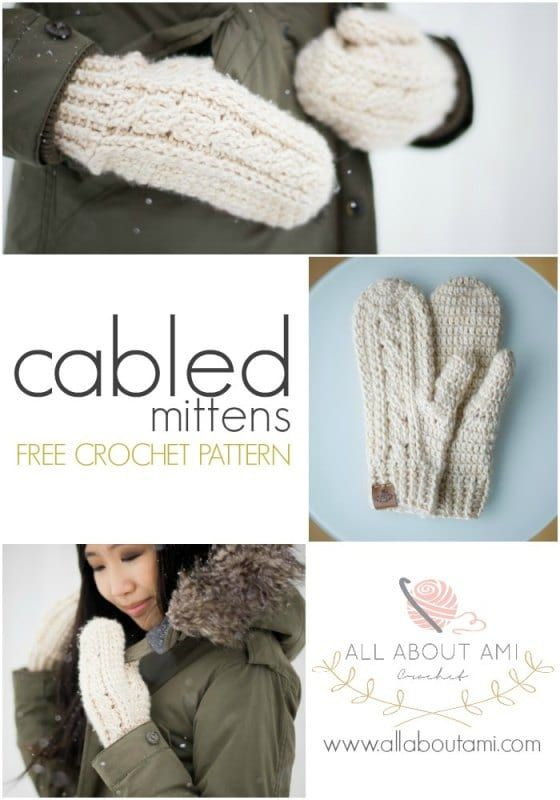 Crochet Cabled Mittens | Crochet mittens pattern, Crochet cable .