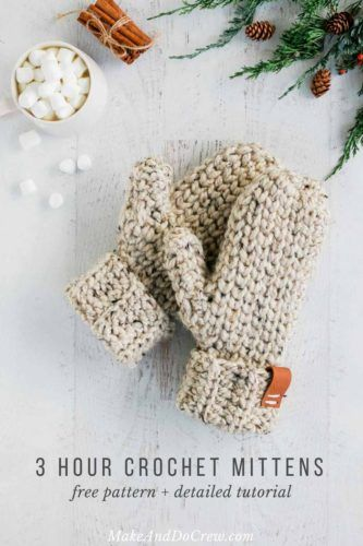 3 Hour Chunky Crochet Mittens - Free Pattern + Detailed Tutorial .